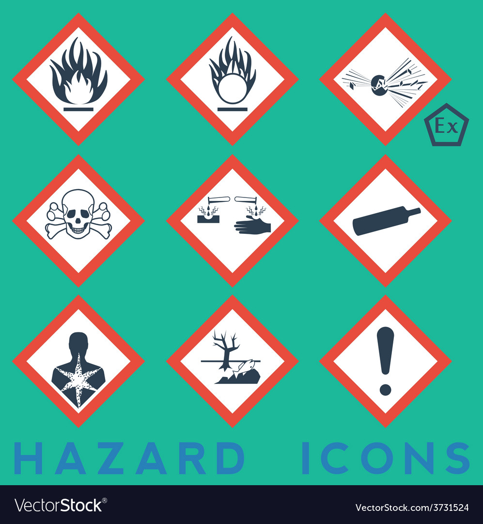 Hazard icons 9 1 package symbols red border vector | Price: 1 Credit (USD $1)