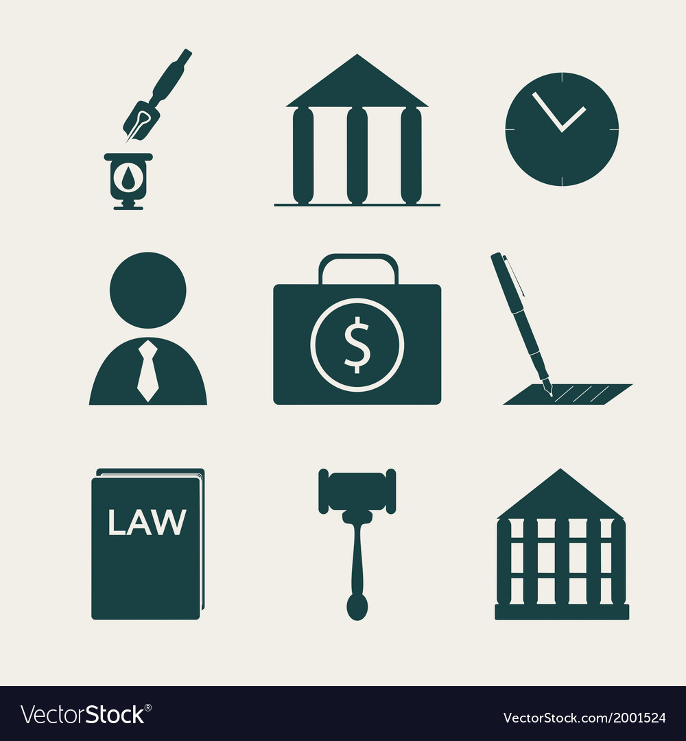 Legal law and justice icon set vector | Price: 1 Credit (USD $1)