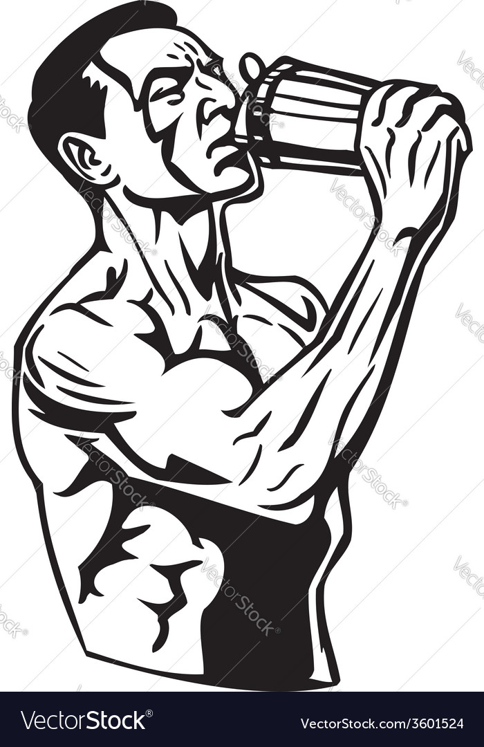 Man drinking water from a shaker vector   Price: 1 Credit (USD $1)