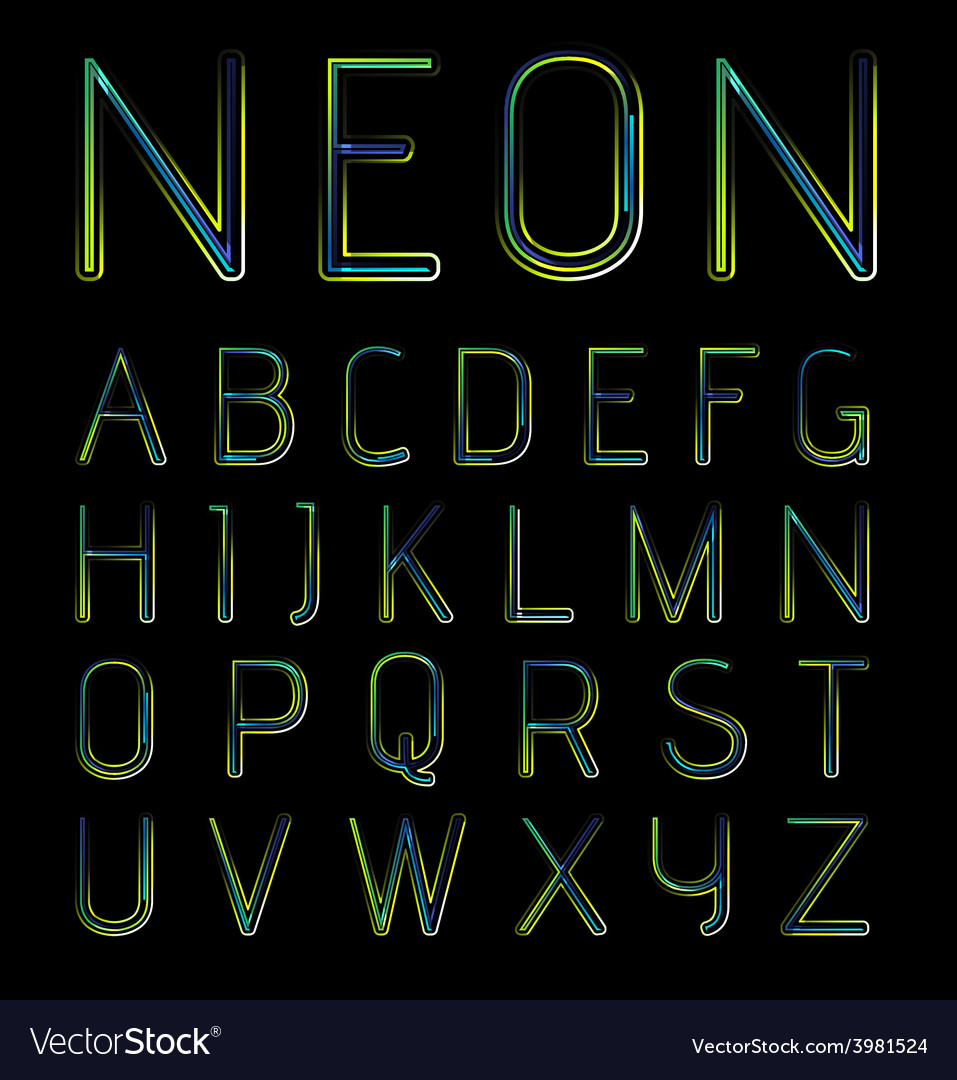 Neon font vector | Price: 1 Credit (USD $1)