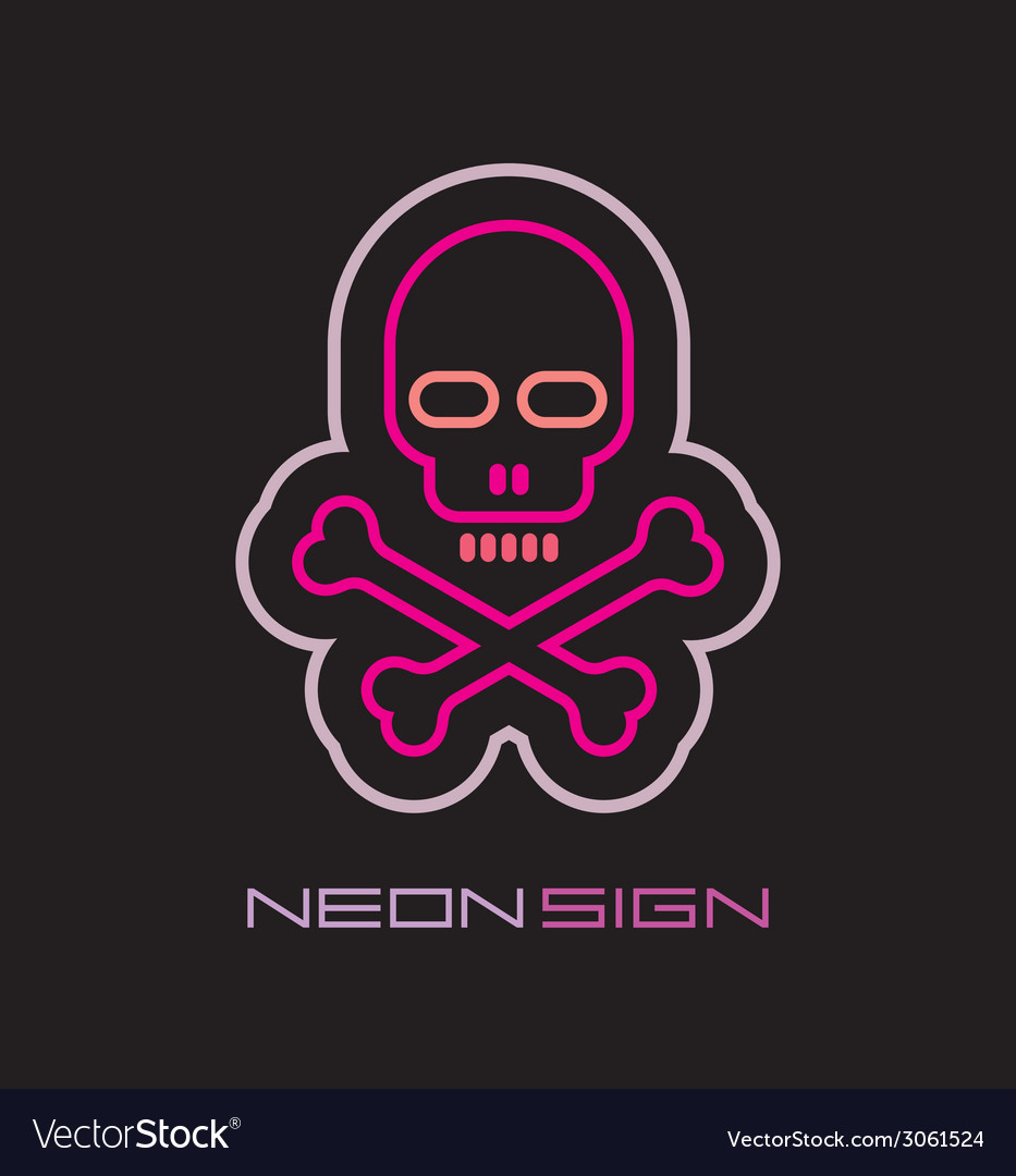 Neon skull and crossbones vector | Price: 1 Credit (USD $1)
