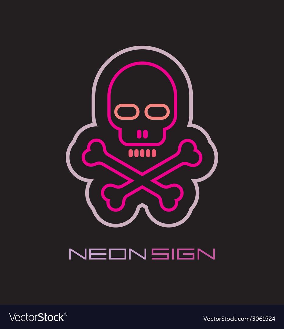 Neon skull and crossbones vector