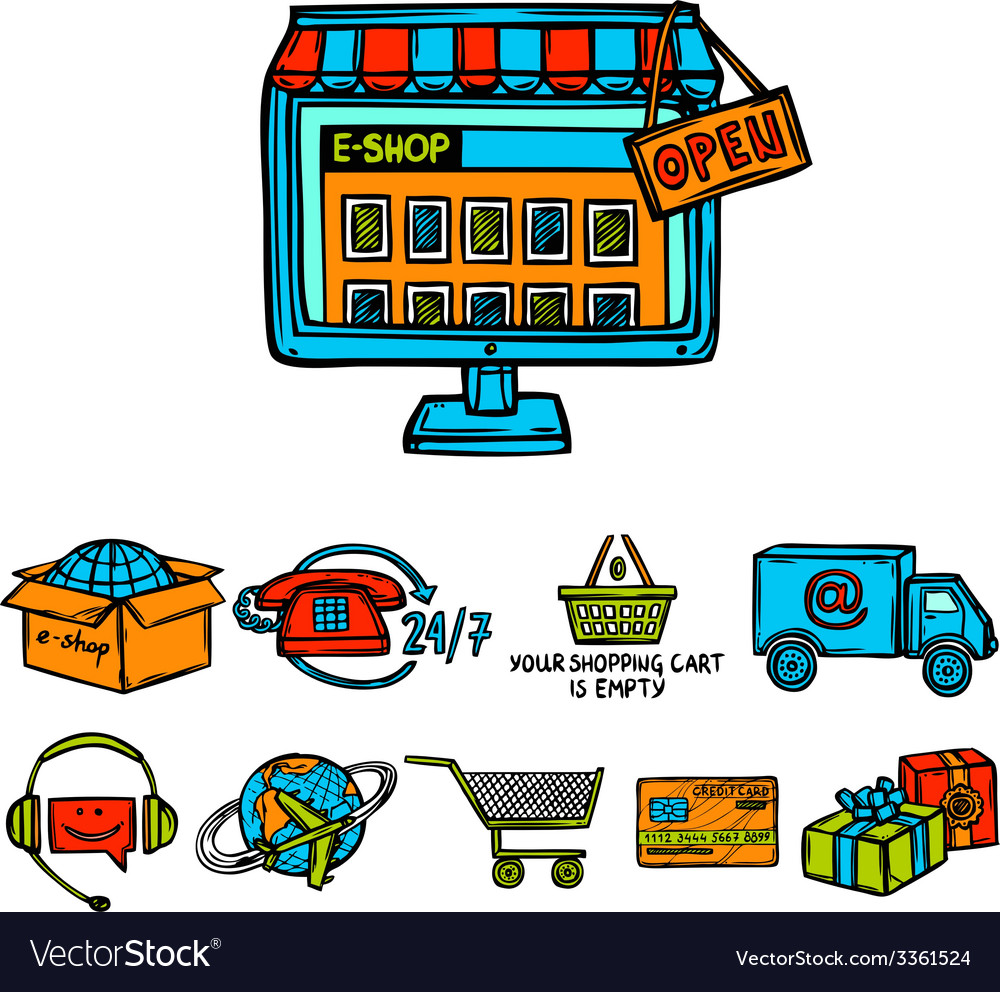 Online shopping decorative set vector   Price: 1 Credit (USD $1)