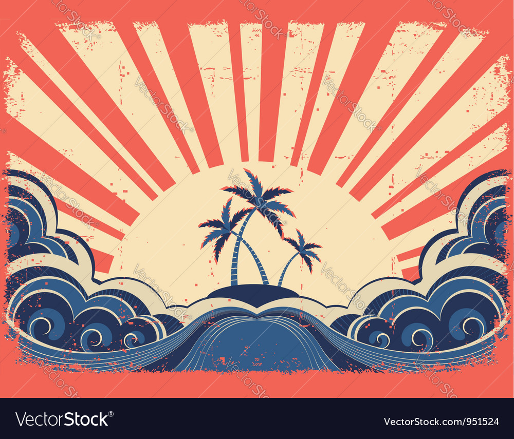 Paradise island on grunge background vector | Price: 1 Credit (USD $1)