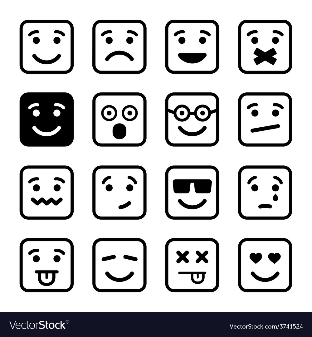 Square smiley faces set vector | Price: 1 Credit (USD $1)