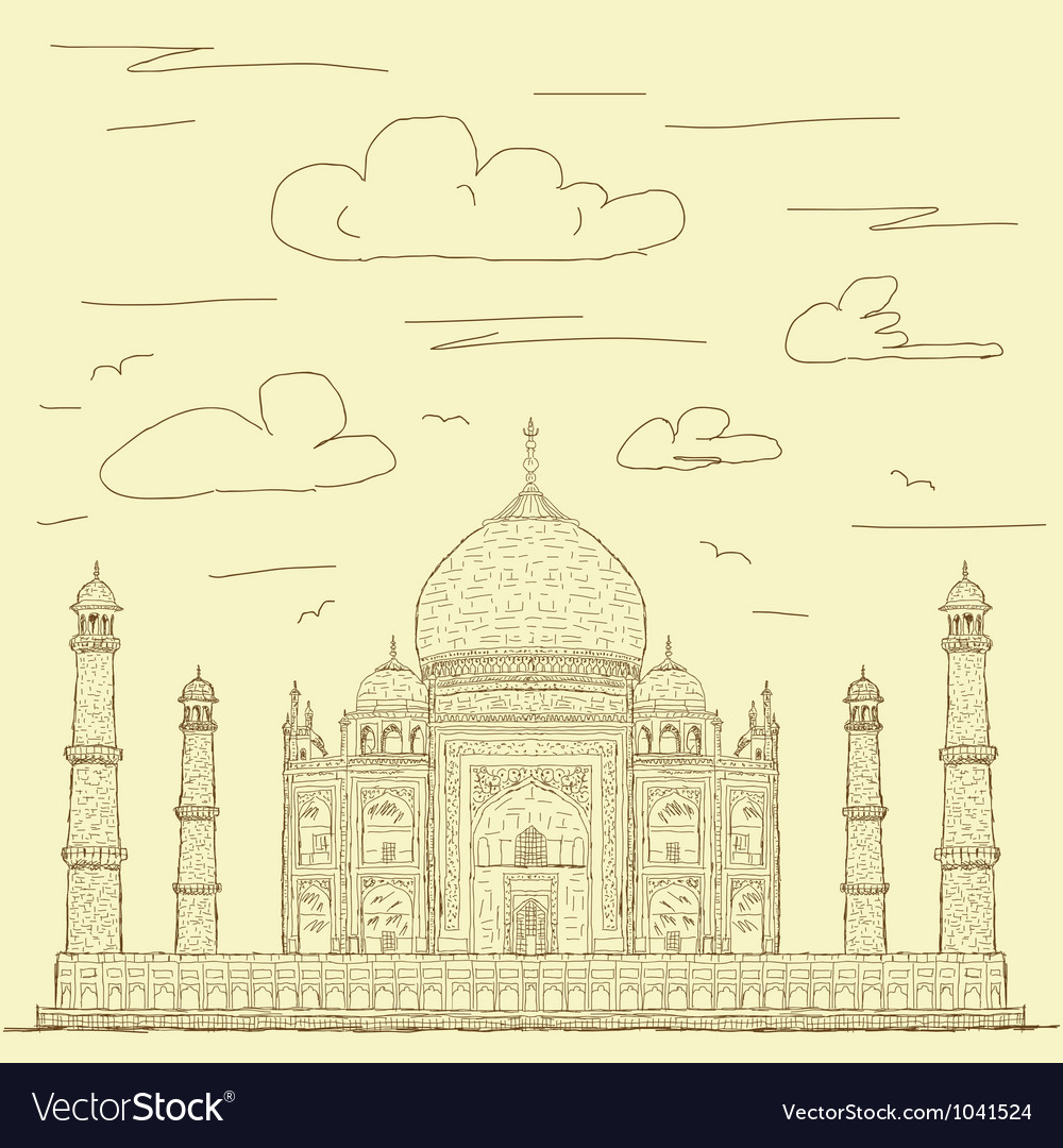 Taj mahal vintage vector | Price: 1 Credit (USD $1)