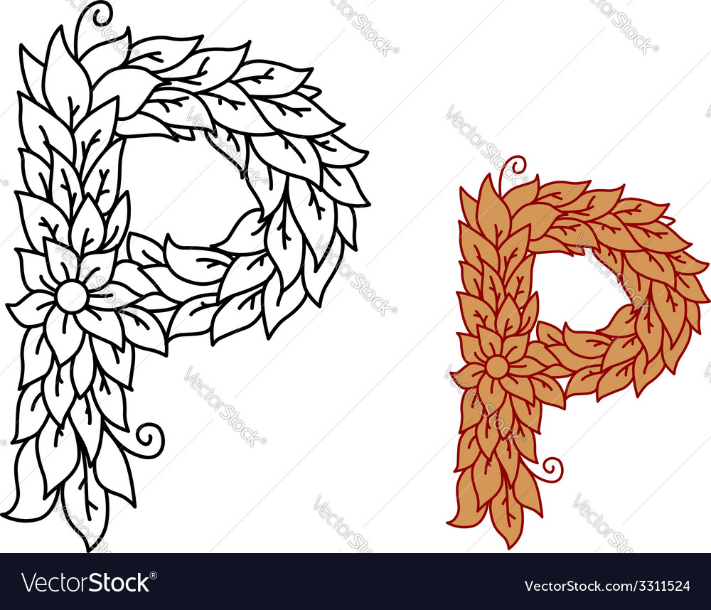 Uppercase letter p in a foliate font vector | Price: 1 Credit (USD $1)