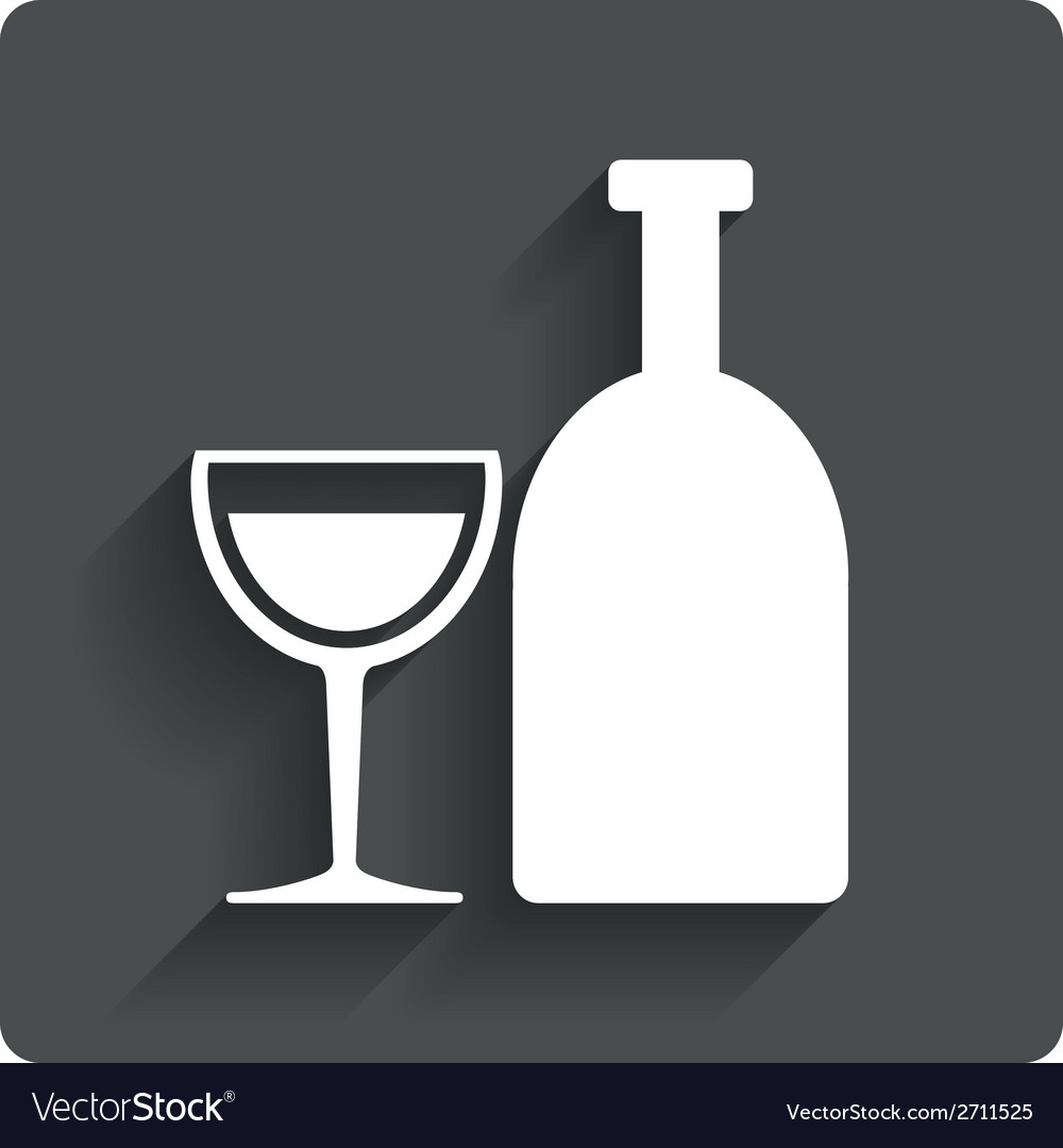 Alcohol sign drink symbol bottle with glass vector | Price: 1 Credit (USD $1)