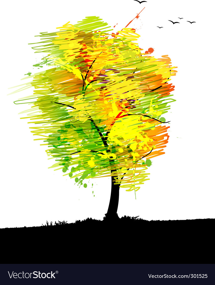 Autumn tree with birds vector | Price: 1 Credit (USD $1)