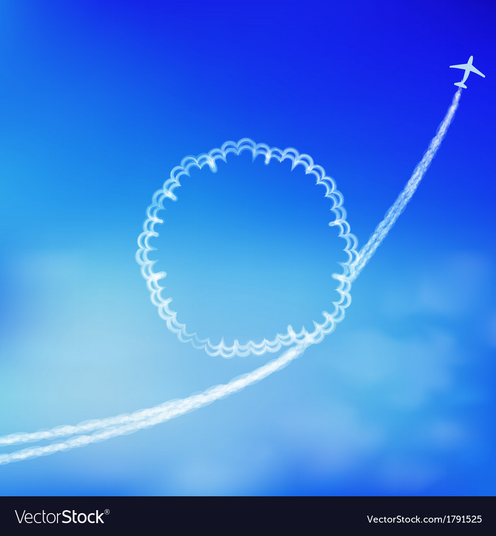 Blue sky background with trace of an airplane vector | Price: 1 Credit (USD $1)