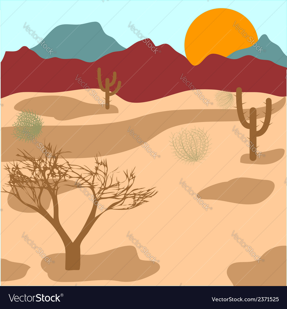 Desert mountains cactuses and tumbleweed vector   Price: 1 Credit (USD $1)