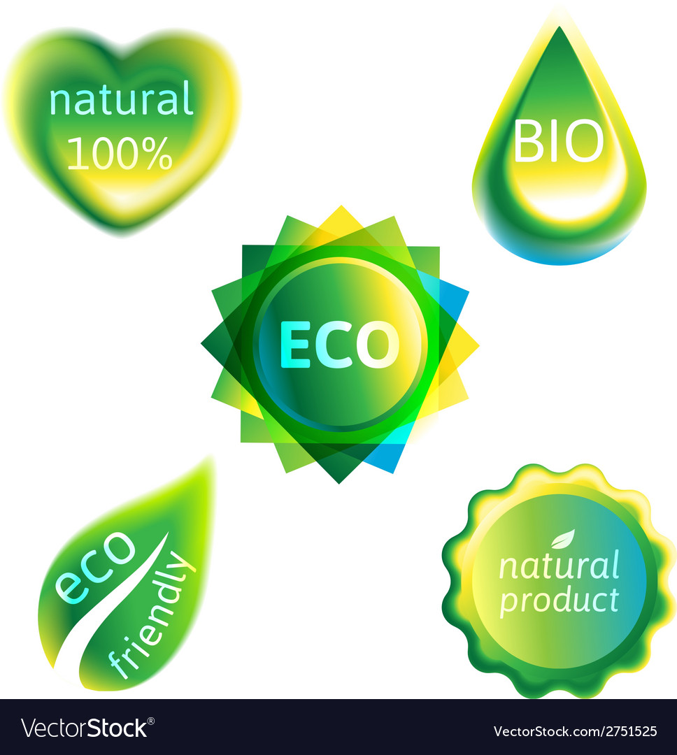 Ecology labels set vector | Price: 1 Credit (USD $1)