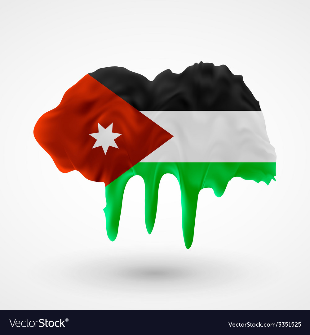Flag of jordan painted colors vector | Price: 3 Credit (USD $3)