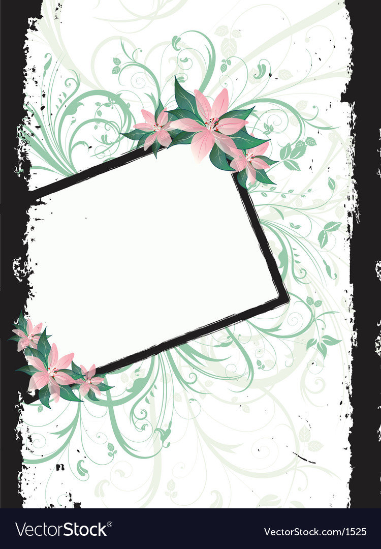 Floral grunge border vector | Price: 1 Credit (USD $1)
