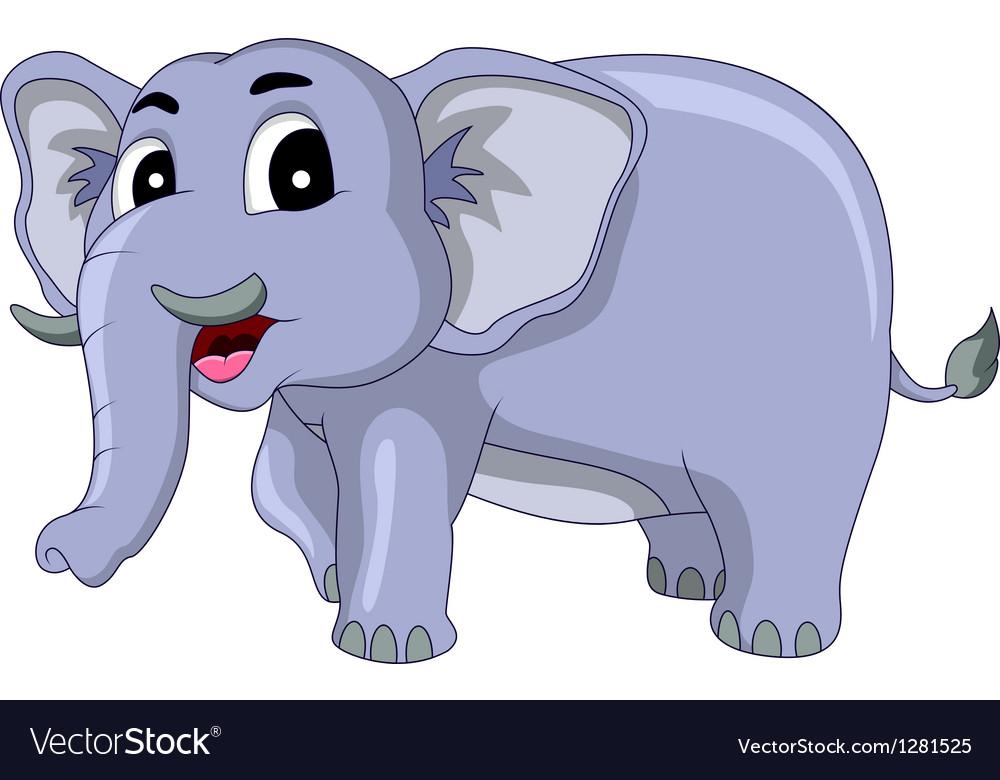 Happy elephant cartoon vector | Price: 1 Credit (USD $1)