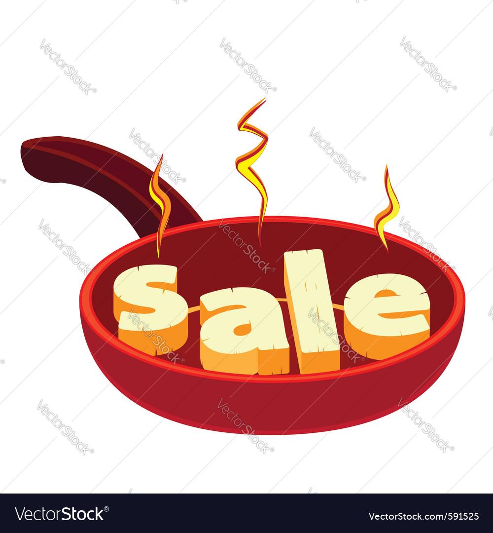 Hot frying pan sale vector | Price: 1 Credit (USD $1)