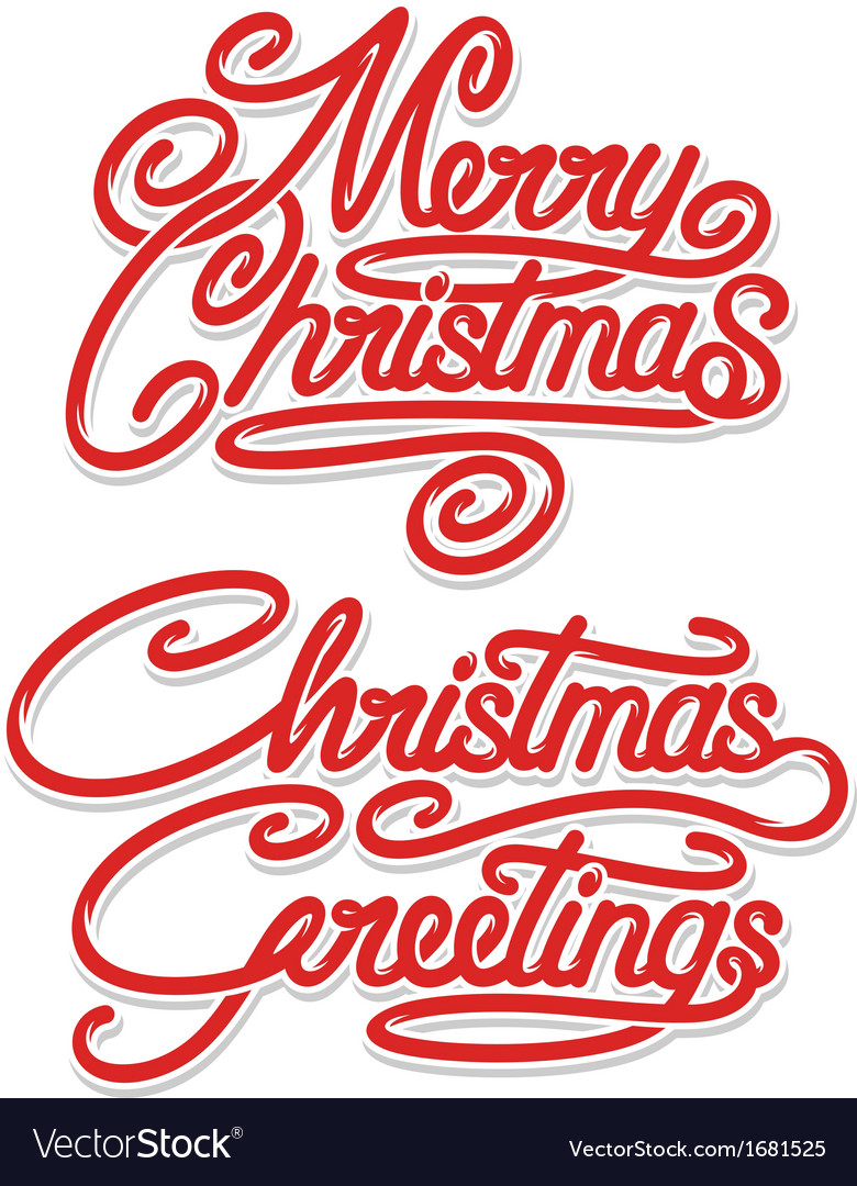 Merry christmas calligraphic text vector | Price: 1 Credit (USD $1)