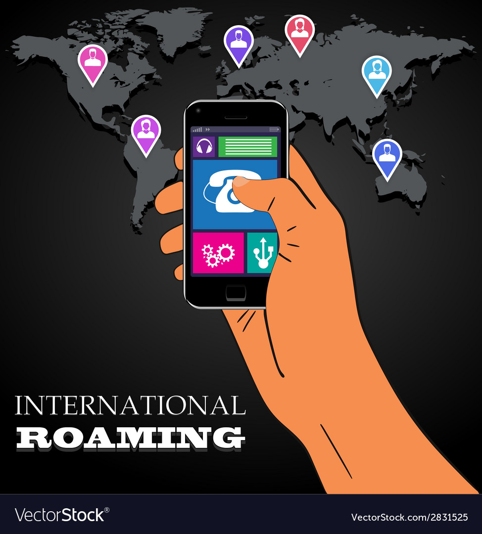 Mobile phone international roaming vector | Price: 1 Credit (USD $1)