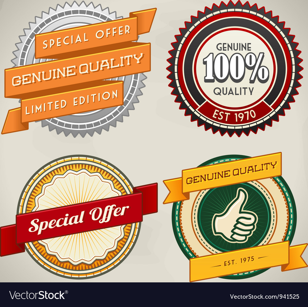 Retro label set 4 vector | Price: 3 Credit (USD $3)