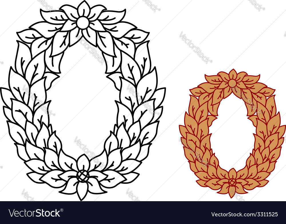 Uppercase alphabet letter o in leaves and flowers vector | Price: 1 Credit (USD $1)