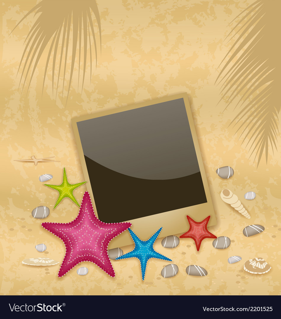 Vintage background with photo frame starfishes vector | Price: 1 Credit (USD $1)