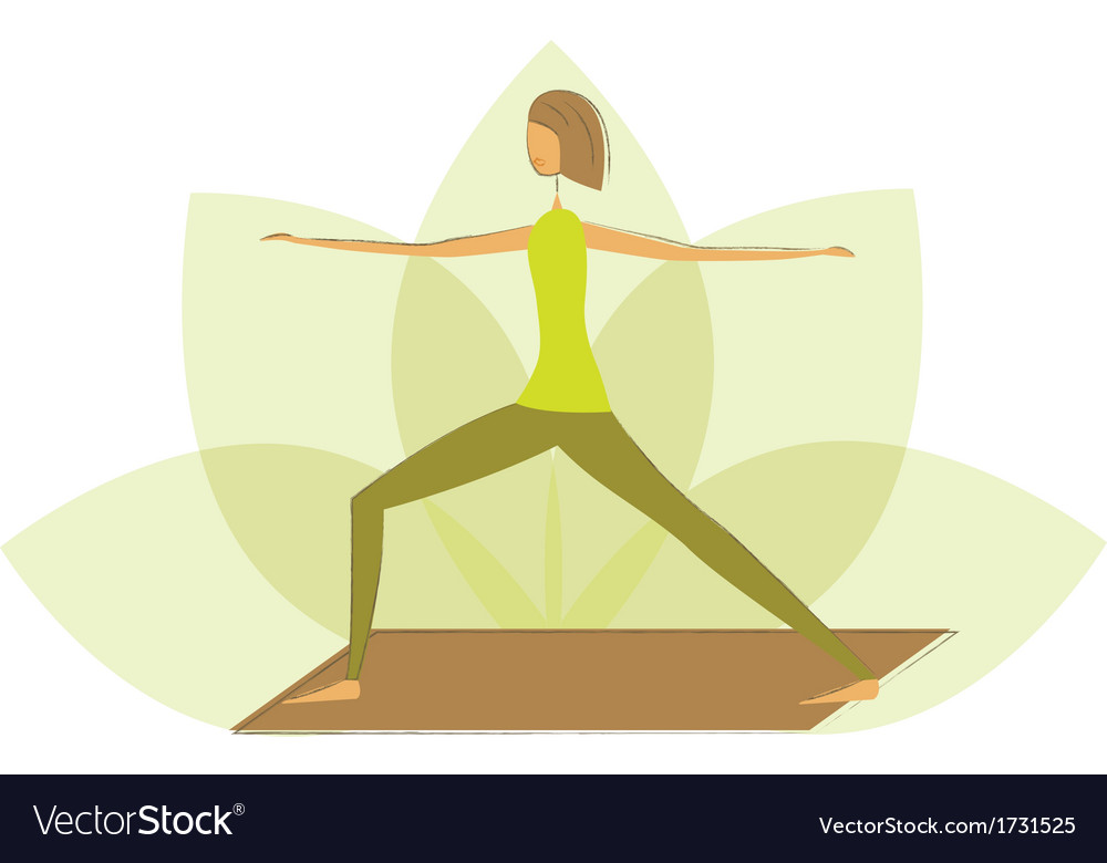 Woman in warrior pose vector | Price: 1 Credit (USD $1)