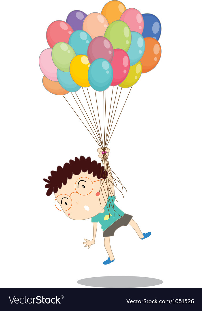 A boy with balloons vector | Price: 1 Credit (USD $1)