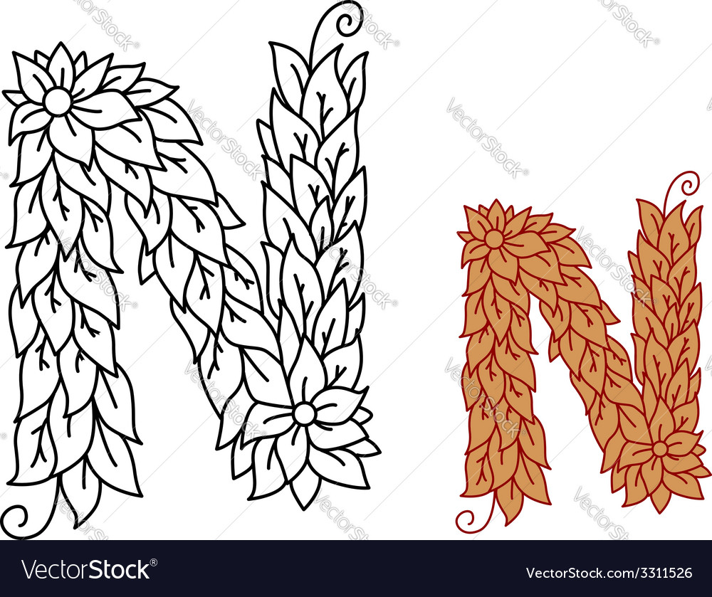 Alphabet letter n in organic leaves font vector | Price: 1 Credit (USD $1)