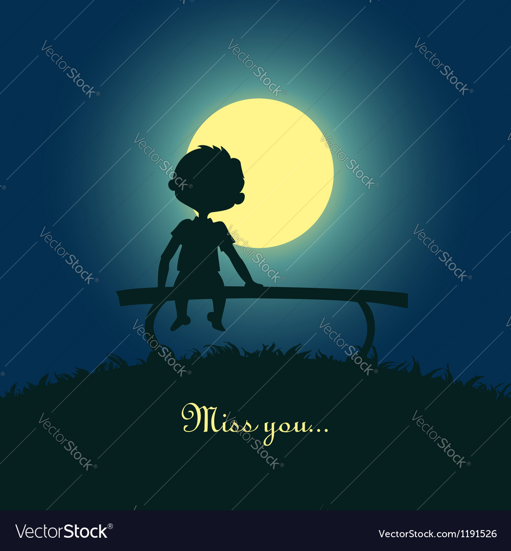 Boy sitting lonely in the moonlight vector | Price: 1 Credit (USD $1)