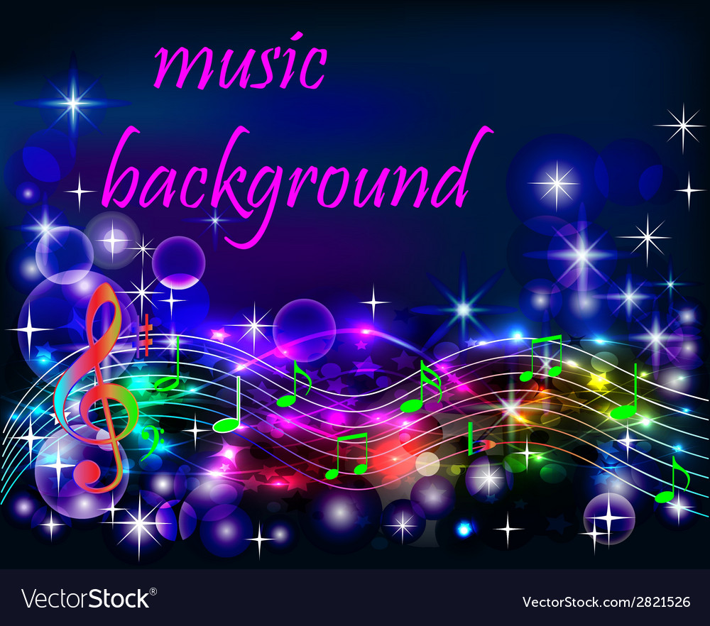 Bright shiny neon background music vector | Price: 1 Credit (USD $1)