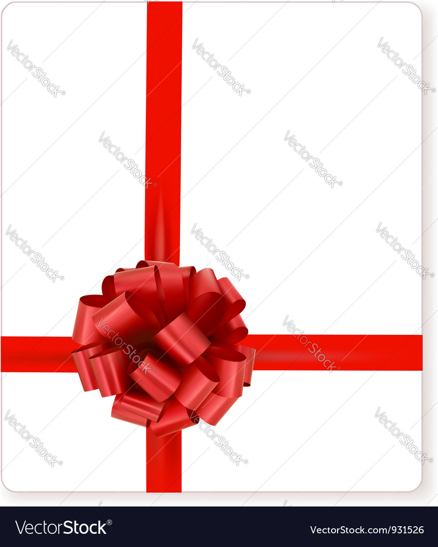 Card with red gift bow with ribbons vector | Price: 1 Credit (USD $1)