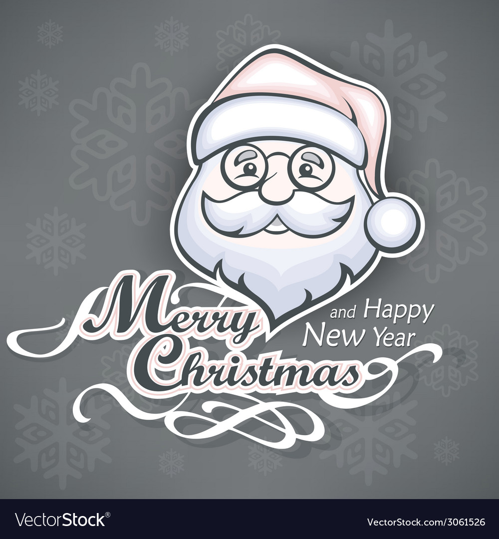 Cheerful santa face on grey vector | Price: 1 Credit (USD $1)