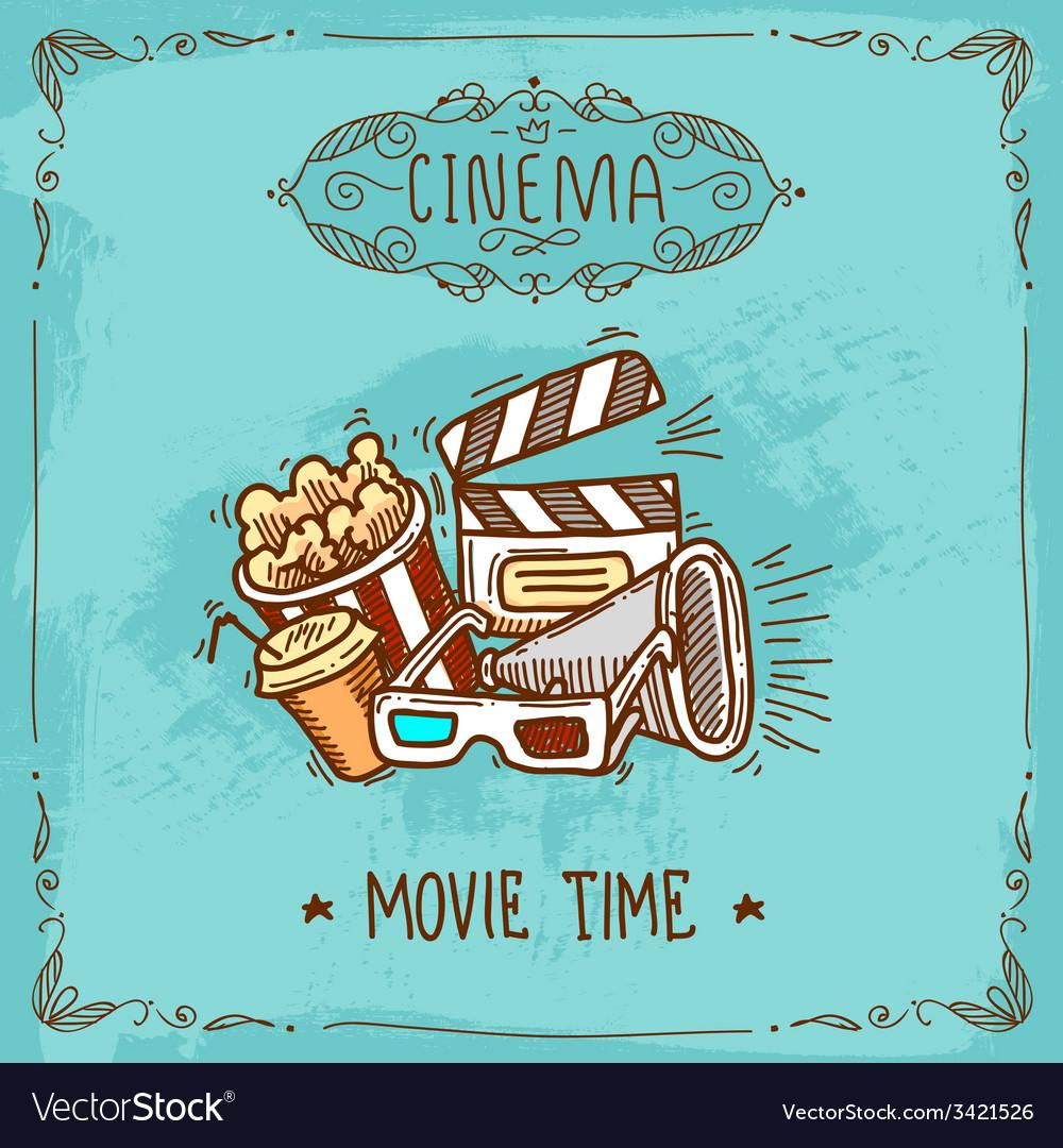 Cinema poster sketch vector | Price: 1 Credit (USD $1)