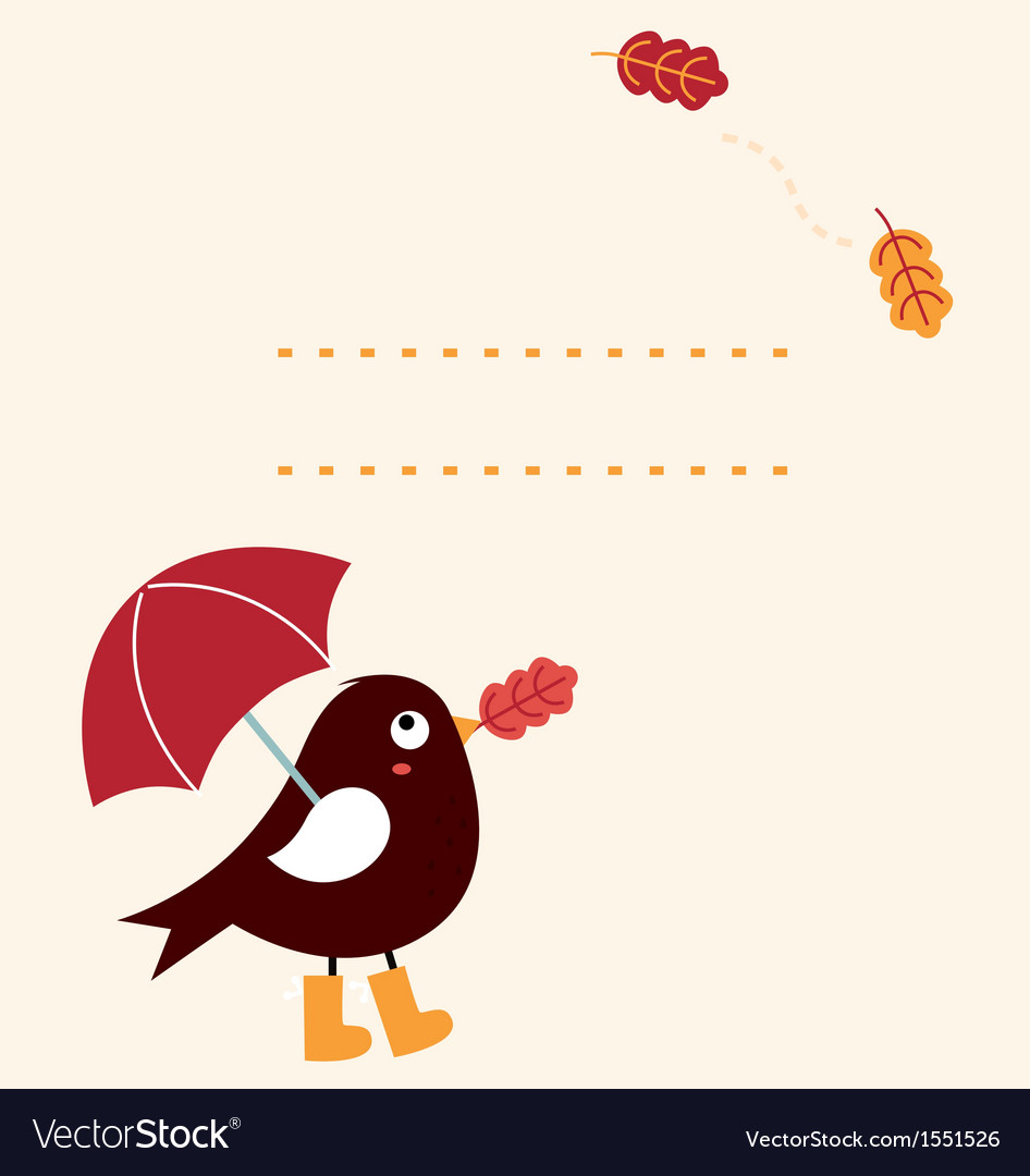 Cute autumn greeting card with cartoon bird vector | Price: 1 Credit (USD $1)