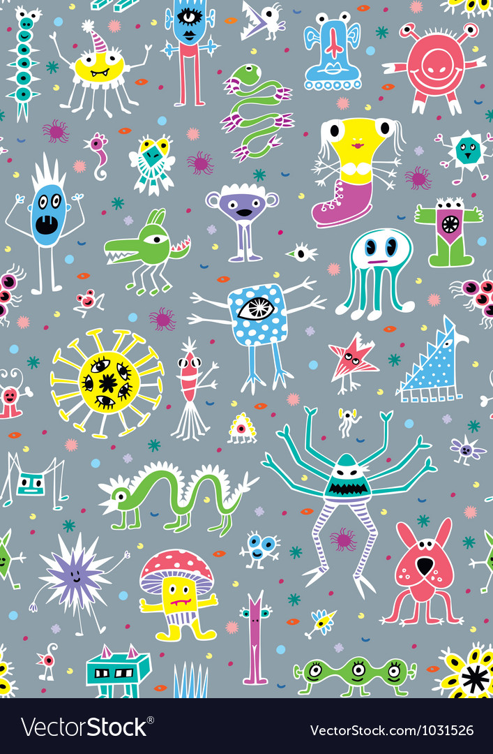 Cute monsters seamless patterns vector | Price: 1 Credit (USD $1)
