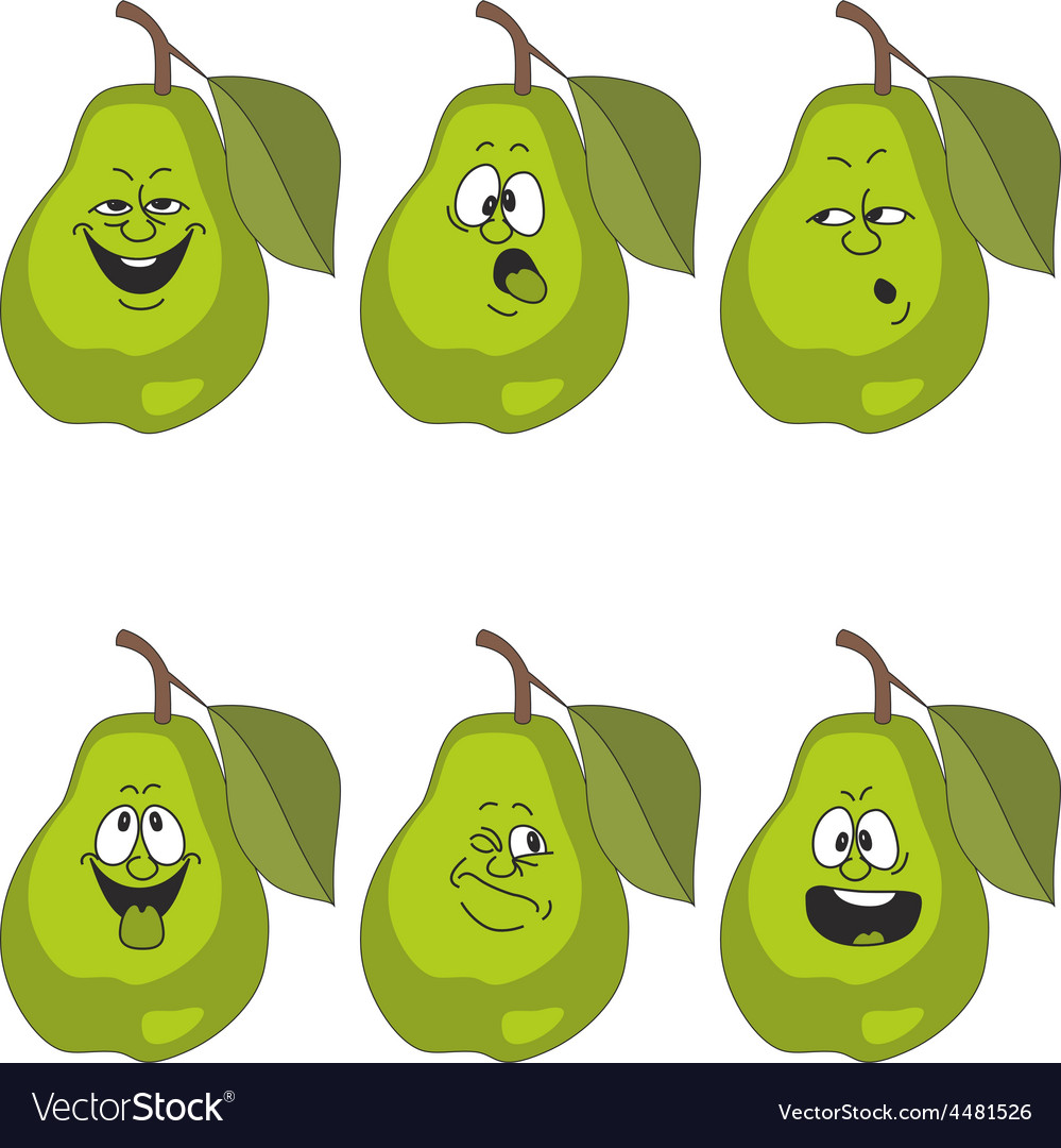 Emotion cartoon green pear set 014 vector | Price: 1 Credit (USD $1)