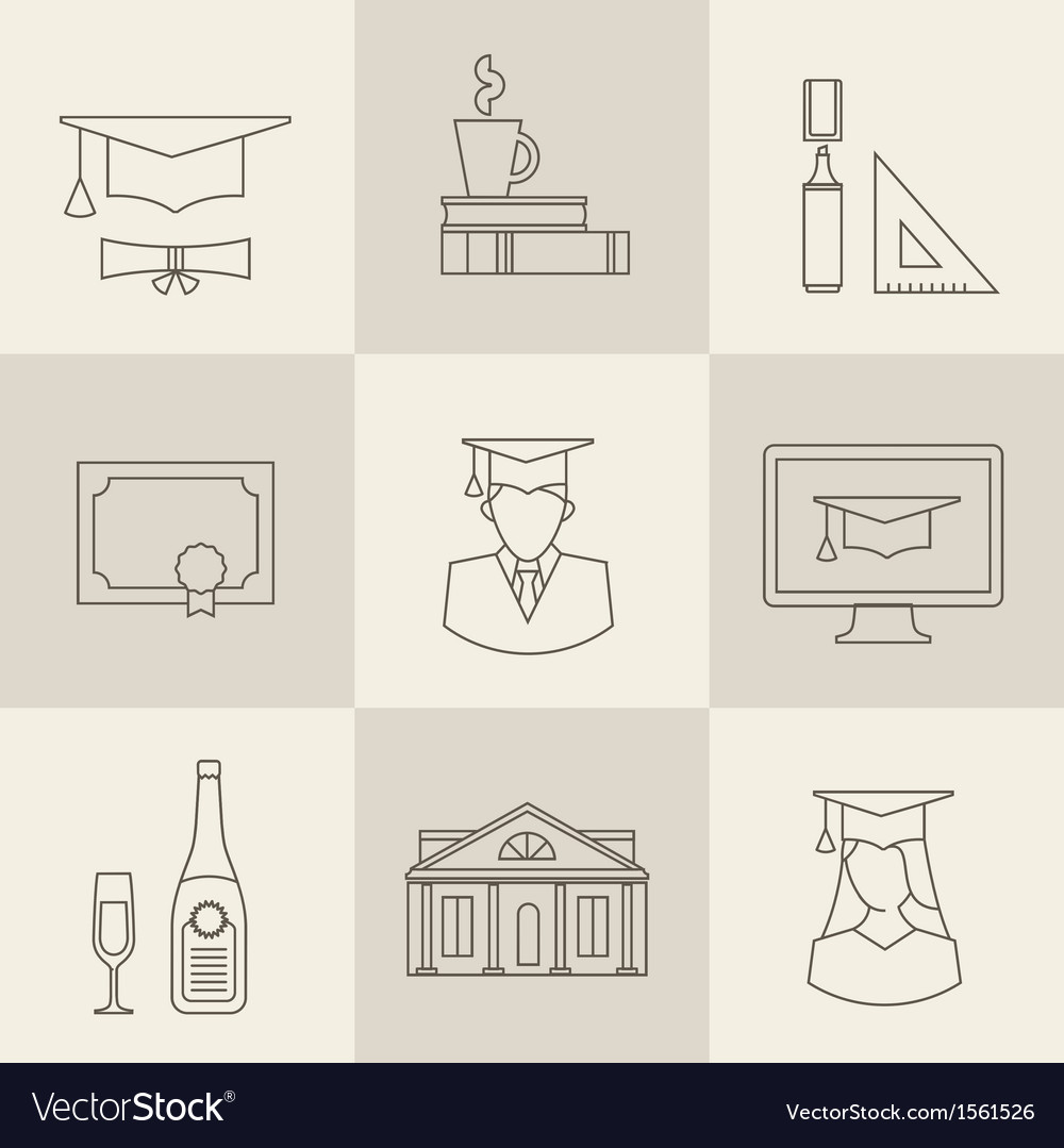 Graduation icons vector | Price: 1 Credit (USD $1)