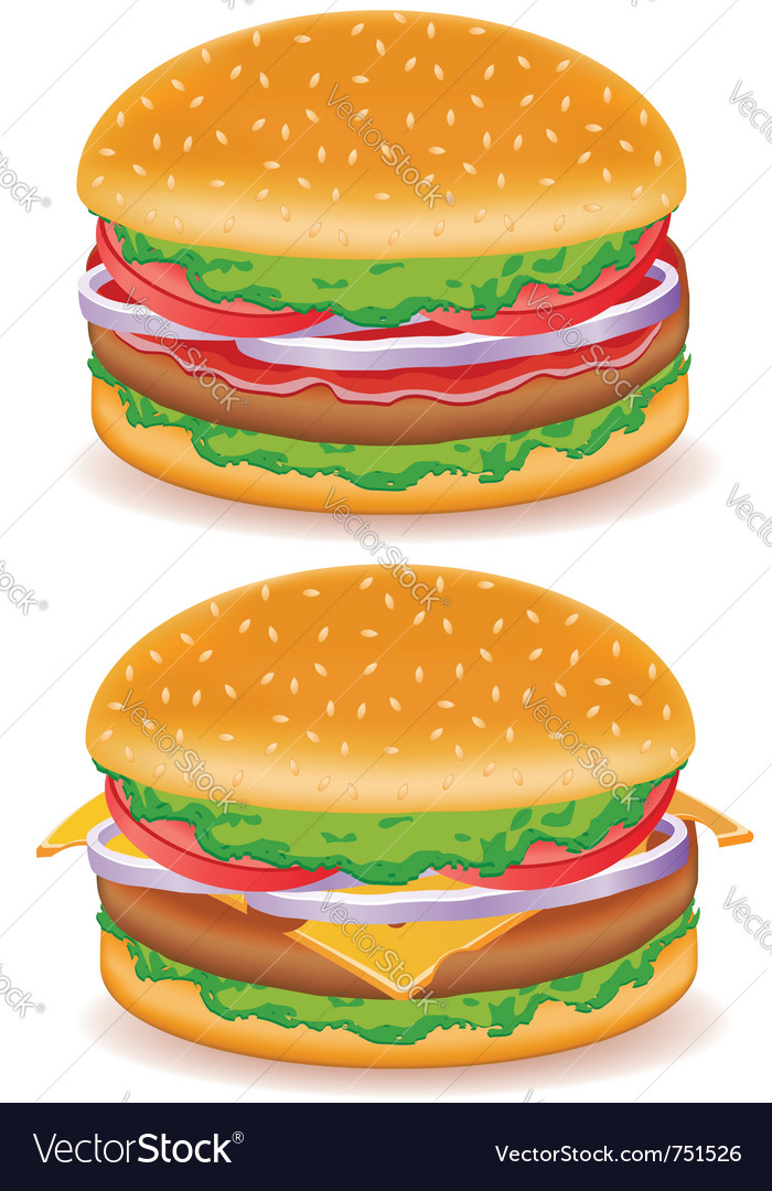 Hamburger and cheeseburger isolated on white backg vector | Price: 3 Credit (USD $3)
