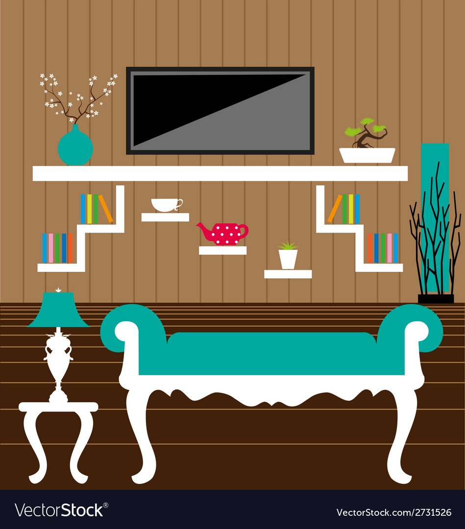Living room interior vector | Price: 1 Credit (USD $1)