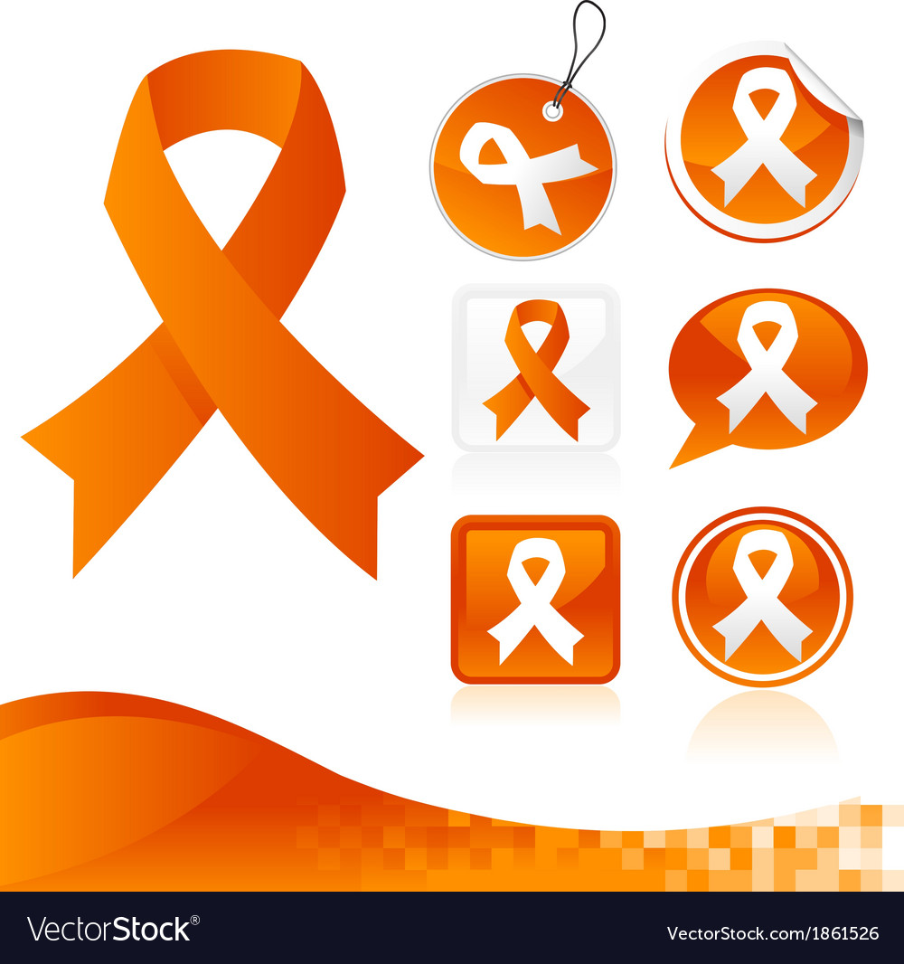 Orange awareness ribbons kit vector | Price: 1 Credit (USD $1)