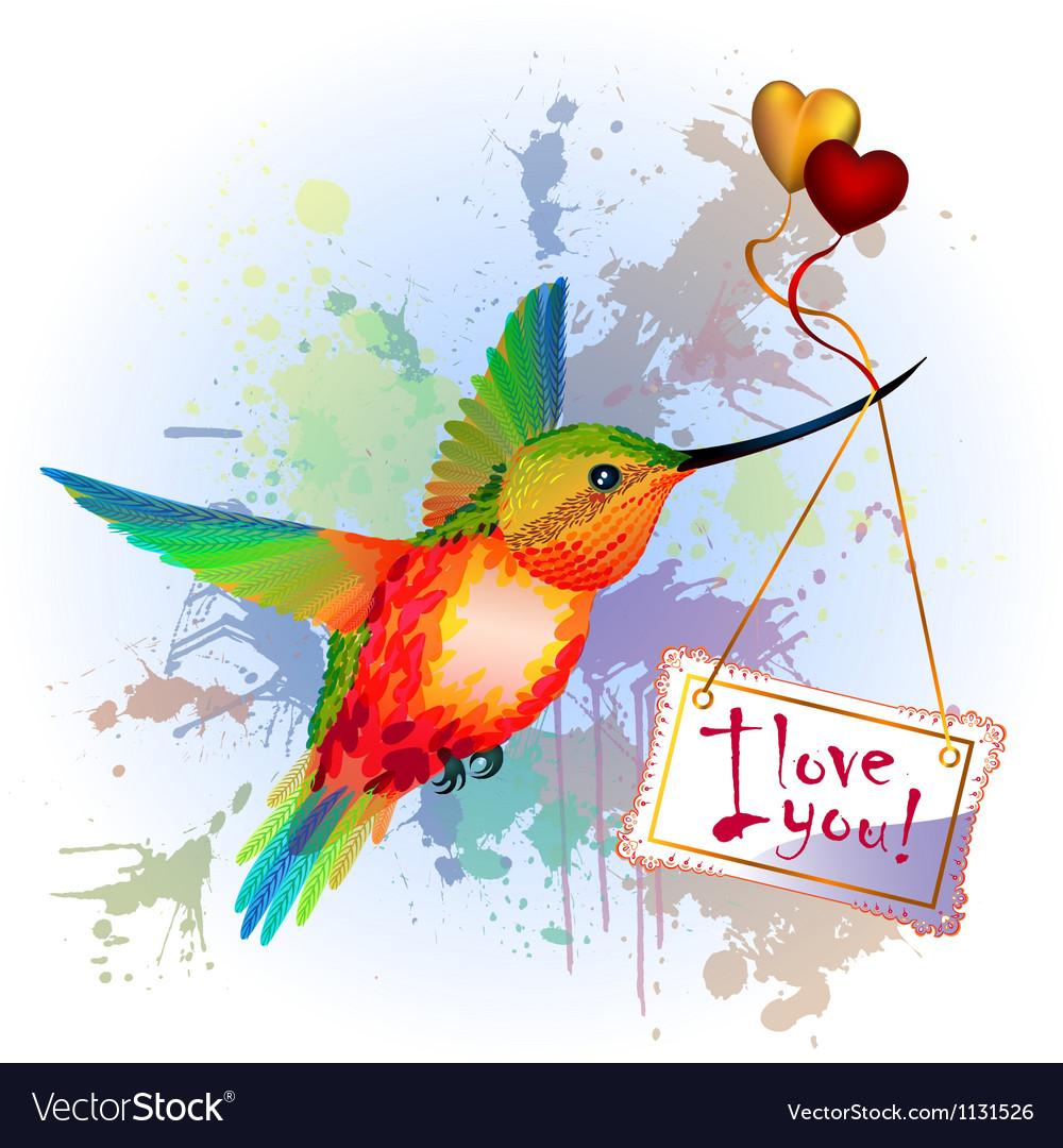 Rainbow humming-bird with valentines card vector | Price: 3 Credit (USD $3)