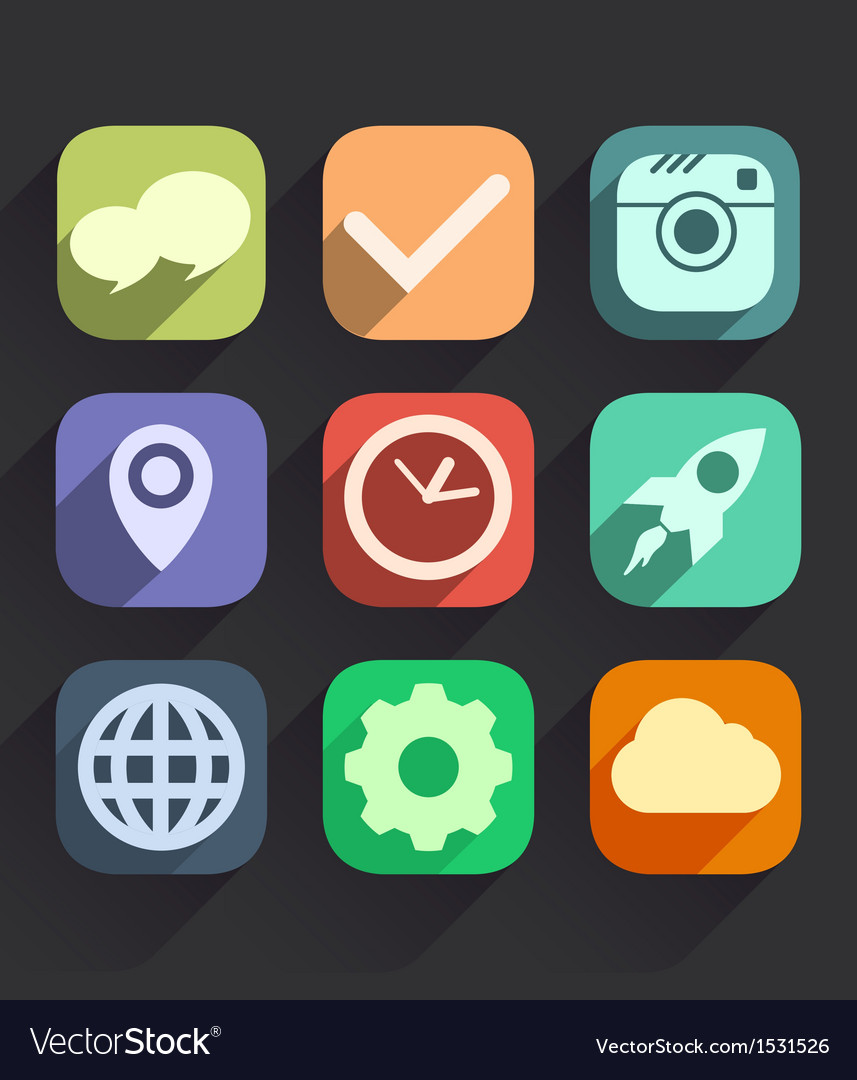 Set of flat icons for web and mobile apps vector | Price: 1 Credit (USD $1)