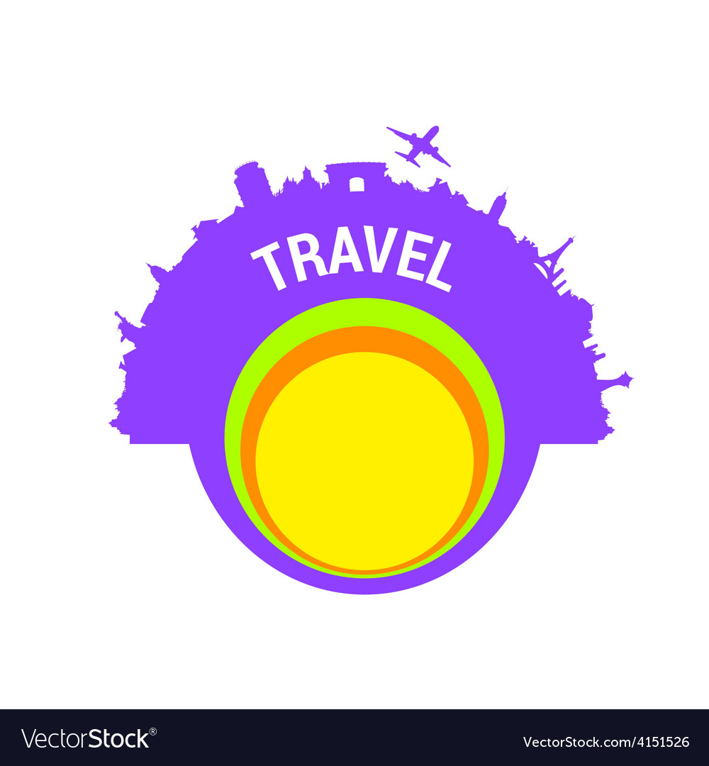 Travel color silhouette vector | Price: 1 Credit (USD $1)