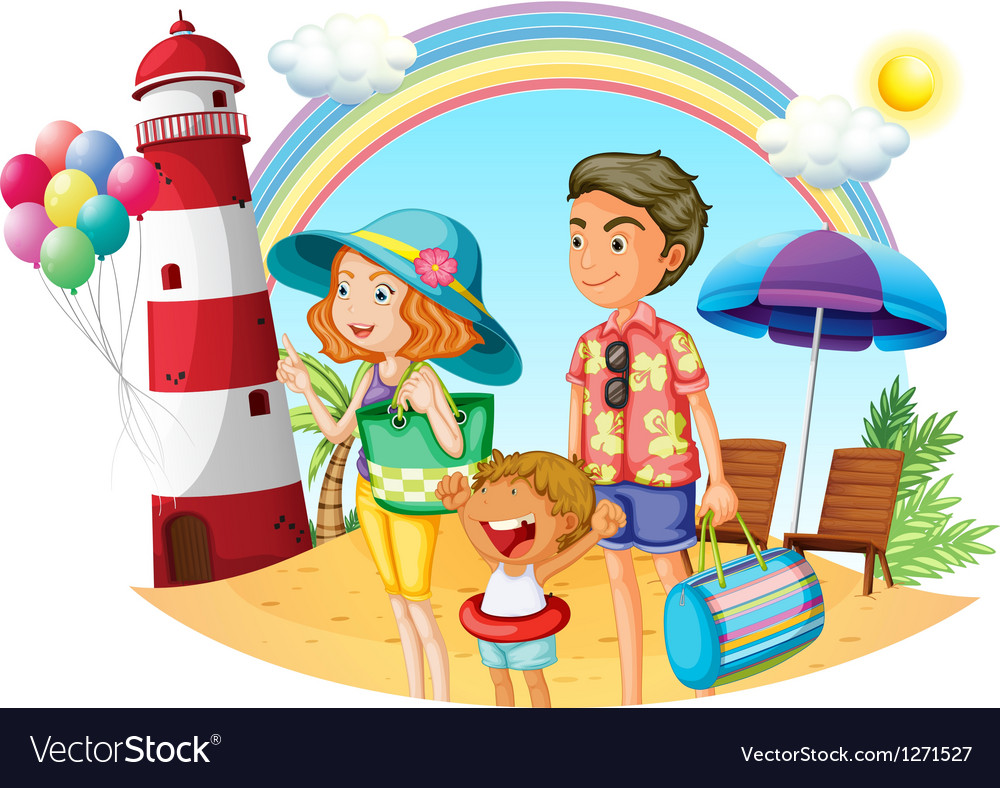 A family at the beach with a lighthouse vector | Price: 1 Credit (USD $1)