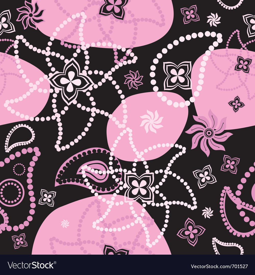 Bright seamless decorative floral texture at black vector | Price: 1 Credit (USD $1)