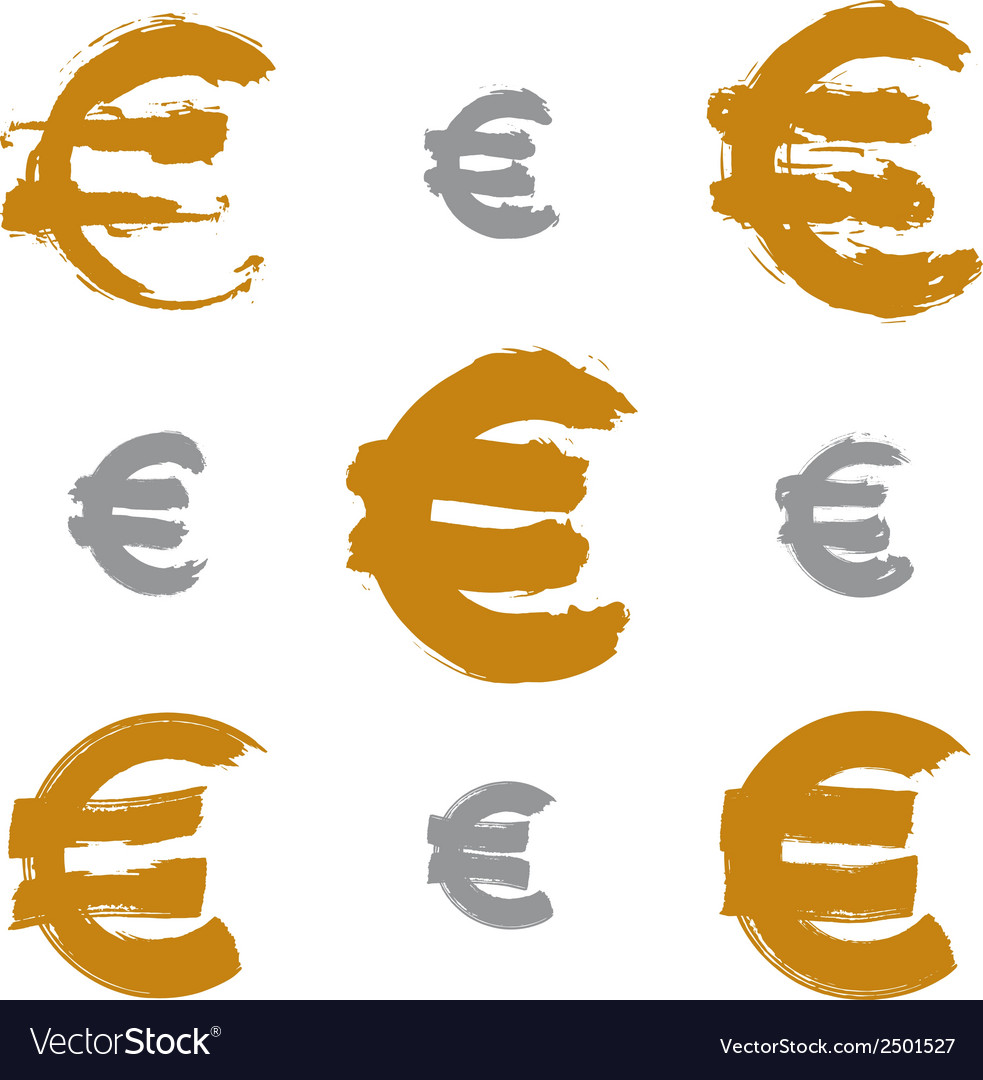 Collection of hand-painted yellow euro icons vector | Price: 1 Credit (USD $1)