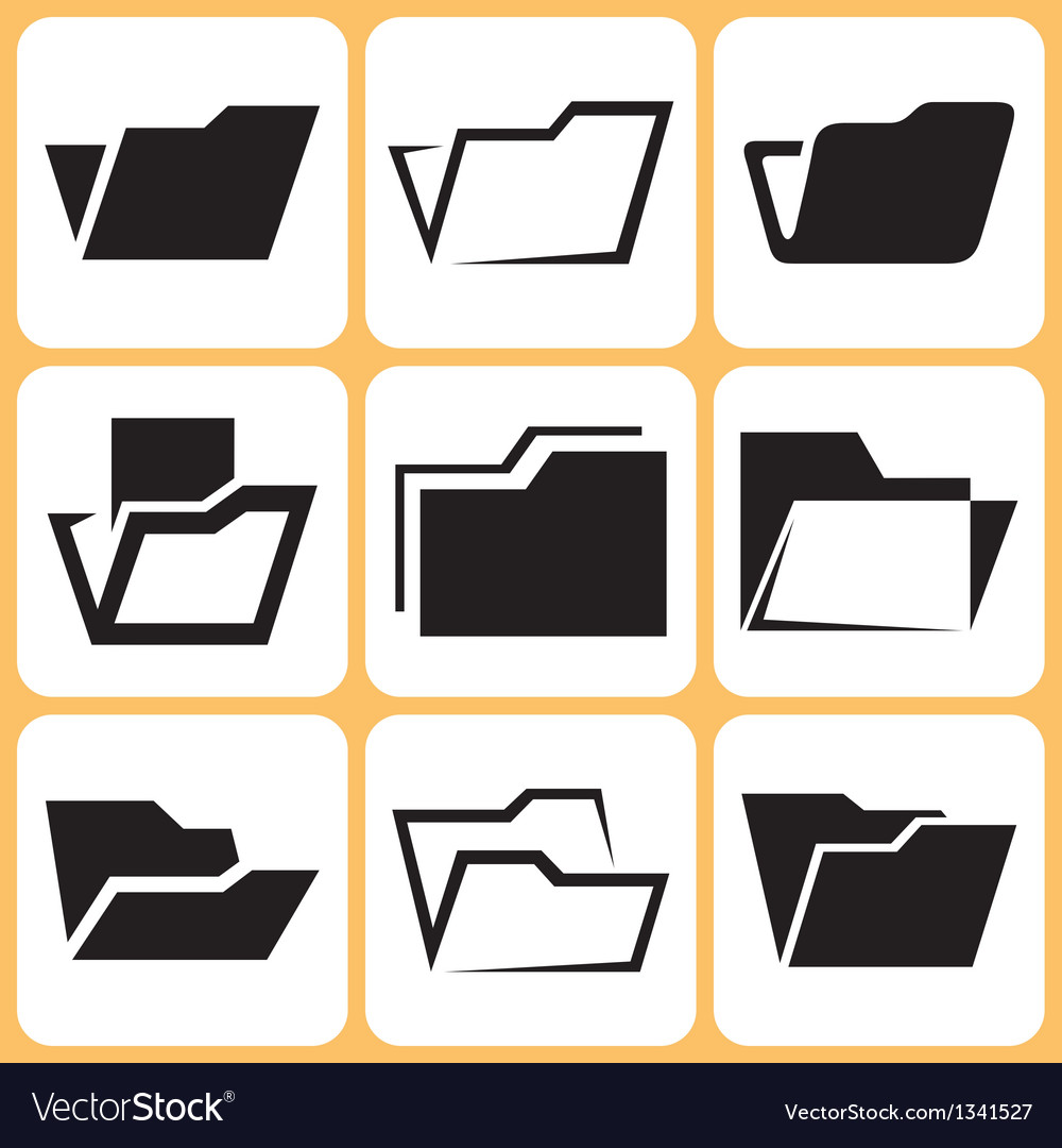 Folder icons set vector | Price: 1 Credit (USD $1)