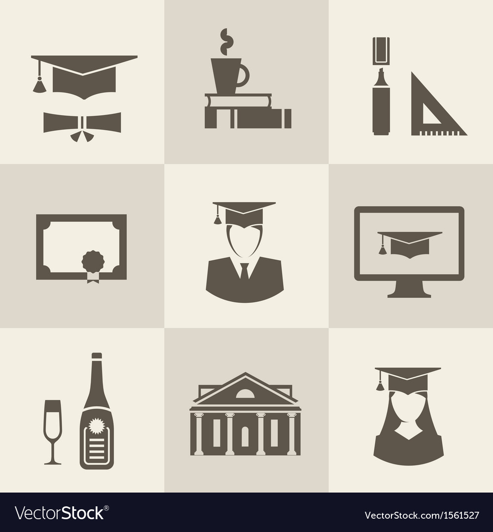 Graduation icons vector | Price: 1 Credit (USD $1)