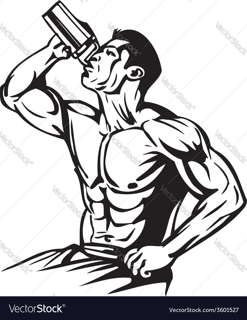 Man drinking water from a shaker vector | Price: 1 Credit (USD $1)