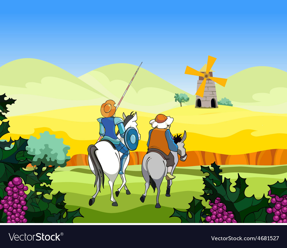 Riders on the horse and donkey ride to the mill vector | Price: 3 Credit (USD $3)